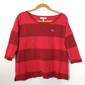 Lacoste Women's Striped Cotton Top  Red Burgundy